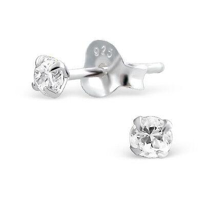 Sterling Silver 3mm Round Simulated Diamond Studs Earrings Genuine 925 Stud