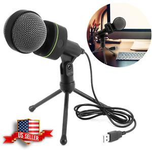 USB Condenser Microphone Set Tripod Studio Recording Audio Podcast Broadcast