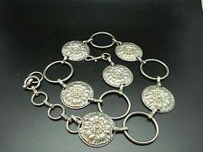 """Vintage 1960's Decorative Large Concho Chain Belt Silver Color Metal 38"""" Long"""