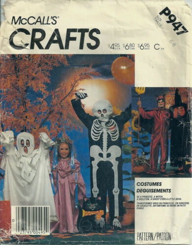 McCall's Sewing Pattern P947 Child's Princess Witch Skeleton Costumes SZ 68
