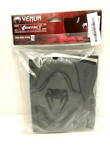Venum-Kontact-Pro-Knee-Pads-Gray-Small-Gel-Neoprene-Protective-Gear-New