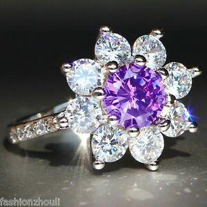 Hot-925-Silver-Filled-Purple-Sapphire-Gemstone-Size8-Birthstone-Wedding-Ring-610