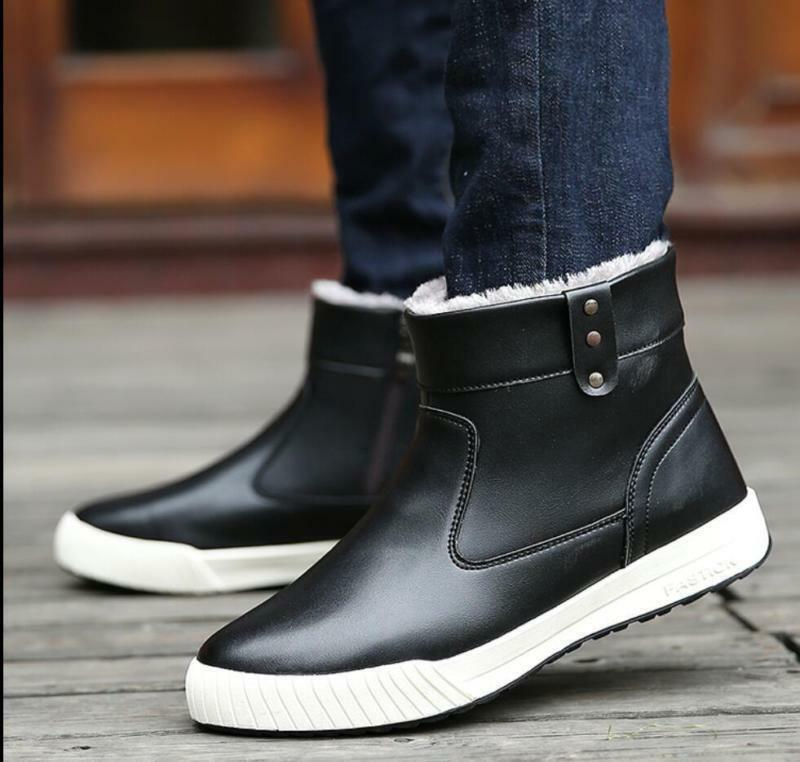 Casual Men's Winter Fur Lining Ankle Warm Zipper Waterproof Leather Snow Boots@c
