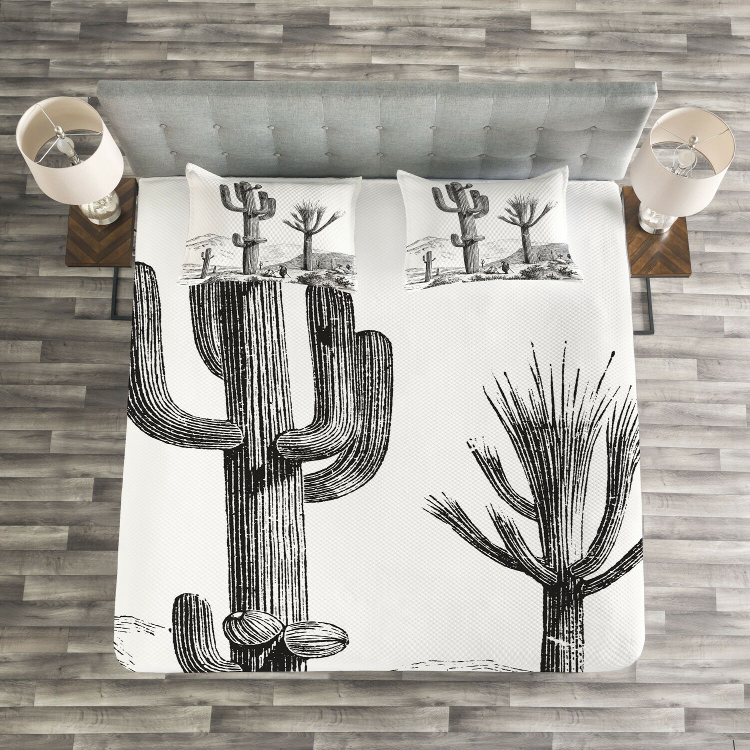 Desert Quilted Bedspread & Pillow Shams Set, Sketchy Mexican View Print