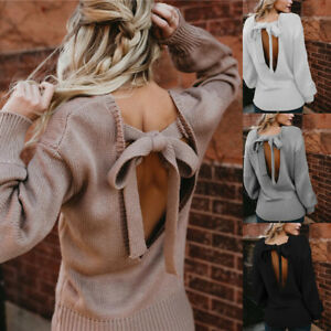 Women-Backless-Sweater-Casual-Long-Sleeve-Knitted-Cable-Jumper-Chunky-Tops-New