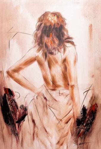 Ölbild junge Frau Keilrahmen Bild moderne 90x60cm Gemälde Stil