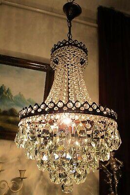 Antique Vintage French Basket Style Crystal Chandelier Lamp Light Luster 1940 S Ebay