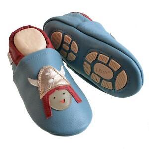 Liya's Babyschuhe Hausschuhe Lederpuschen - #644 Wikinger in Pastellblau