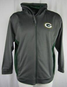 Green-Bay-Packers-Men-039-s-Gray-Majestic-Full-Zip-Hooded-Sweatshirt-NFL-L-2XL