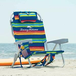 Tommy-Bahama-Foldable-Beach-Chair-Backpack-Drink-Holder-Stripes-Fabric-Pattern