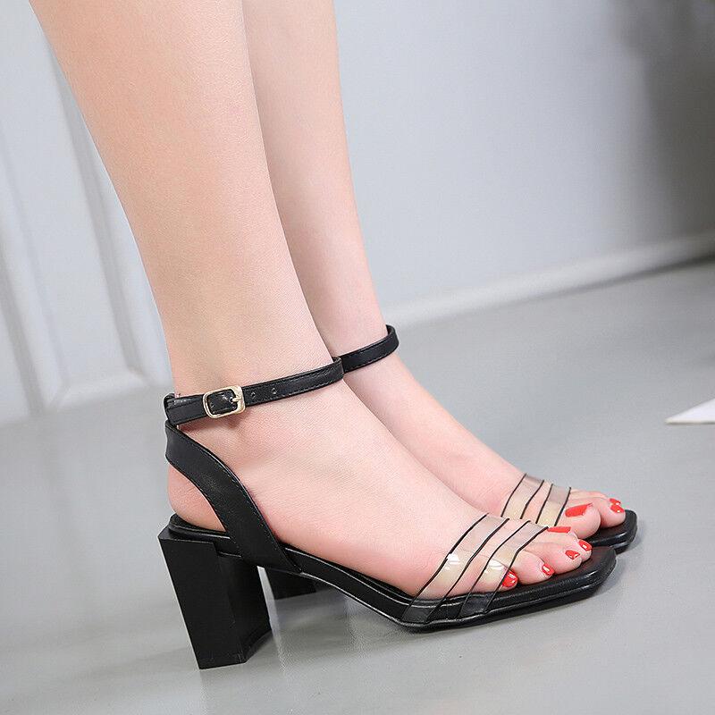 Sandale eleganti nero 7 cm tacco quadrato comodi  simil pelle eleganti 9864