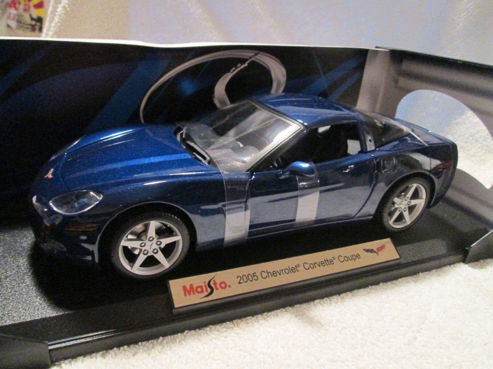 2005 Chevy Corvette Converdeibile Maisto 118 Scala Scuro Blu Bello