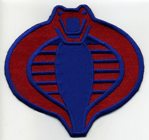 """GI Joe Cobra Commander Large 6/"""" Fully Embroidered Red /& Blue Iron-on Patch"""