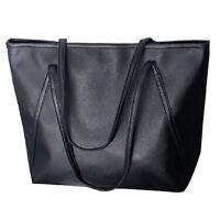 Damen Ledertasche Schultertasche Leder Handtasche Reissverschluss (schwarz) Z2L9