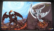 FREE SHIPPING Yugioh Playmat Red-Eyes Black Dragon vs Blue-Eyes White Dragon