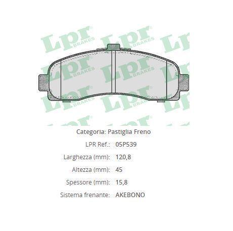 4pz 05P539 Pasticche freno anteriori Nissan con rilevatore di usura spia