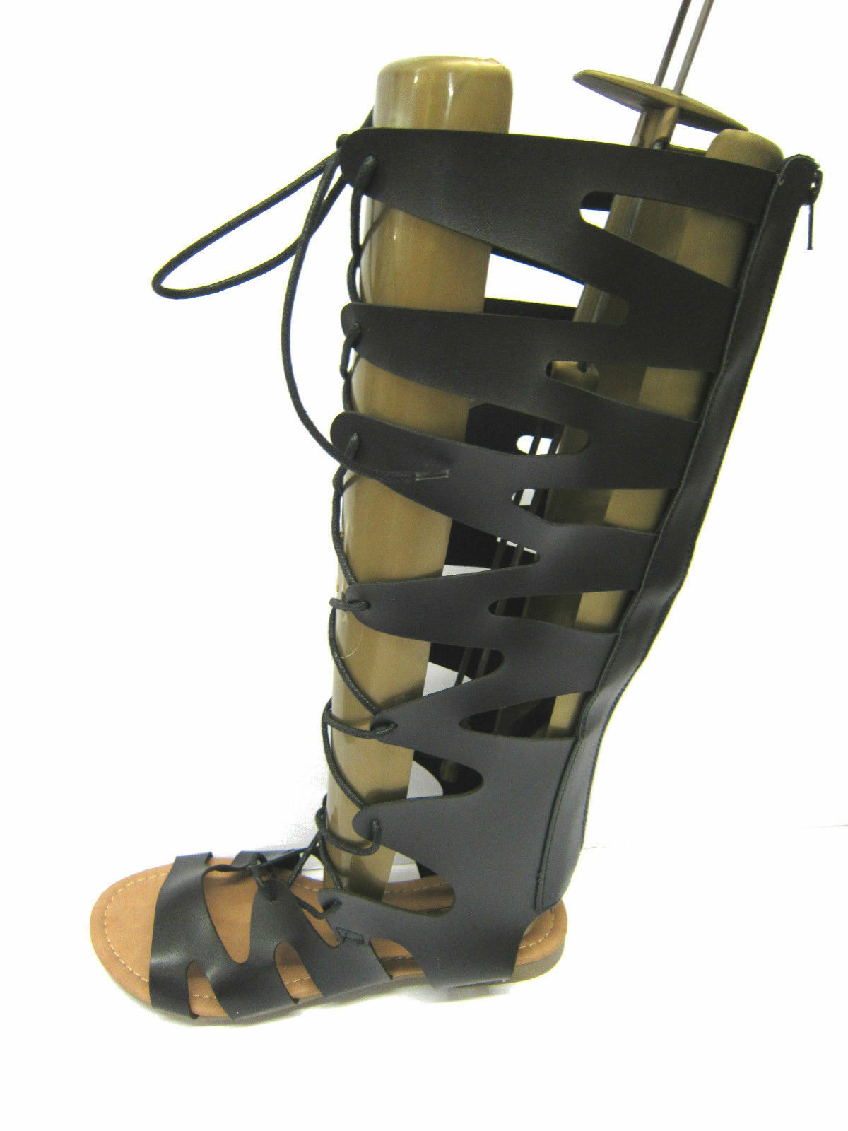 Spot on F0R938 Ladies Knee high gladiator sandals with back zip