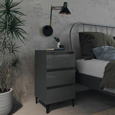 Details about  Set Of 2 Bedside Cabinet 3-Drawer Storage Organizer Nightstand High Gloss Grey