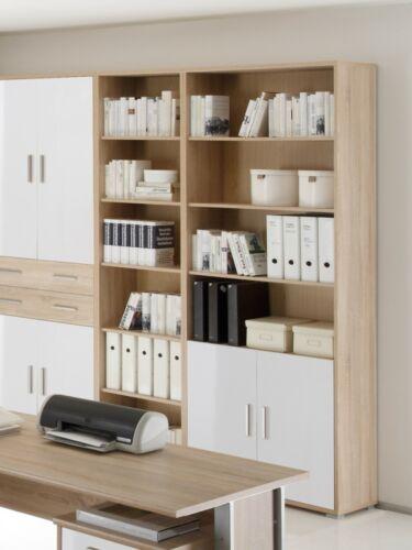 Office Line Schrank 2 Türen 4 Fächer Eiche Dekor Weiß weis B79 H220 Aktenschrank