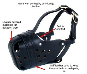 Police X-Large Leather Agitation Dog Muzzle XLarge for Large Shepherds