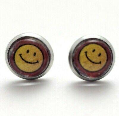 handmade trippy smiley pin earrings!