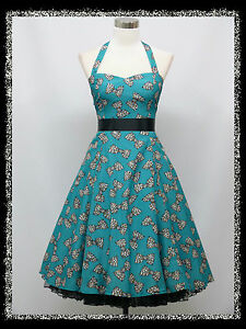 Dress-190-Blue-Bow-Pattern-Halterneck-50s-Rockabilly-Prom-Dress-44-46