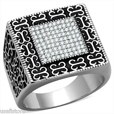 Decorated Top Clear Micro-Pavé Setting Bling 925 Sterling Silver Mens Ring