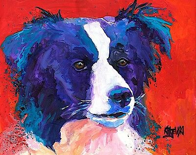Border Collie Dog 11x14 signed art PRINT RJK painting