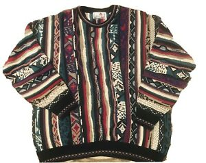 Vintage-COOGI-Style-Pullover-3d-Strick-XL-Bill-Cosby-Hip-Hop-Biggie-Florence-Tricot-90s