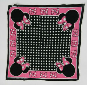 Disney-Scarf-Bandana-Pink-Black-Minnie-Mouse-22-x-22-in-Square