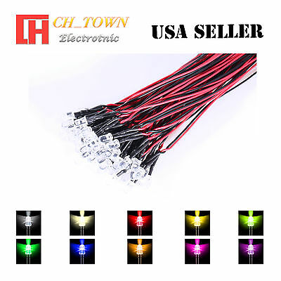 9colorsx5 45pcs 3mm Flat Top Pre-Wired White Red Light DC 9-12V LED Mix Kits