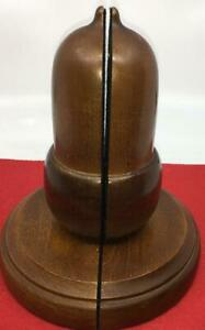 VINTAGE-ACORN-BOOKENDS-LARGE-WOOD-MIDCENTURY-10-034-LIBRARY-DECOR