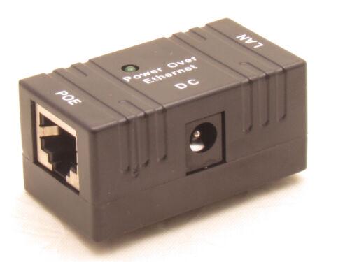 10 X Black POE Injector Splitter over Ethernet Adapter IP Camera LAN Network DC