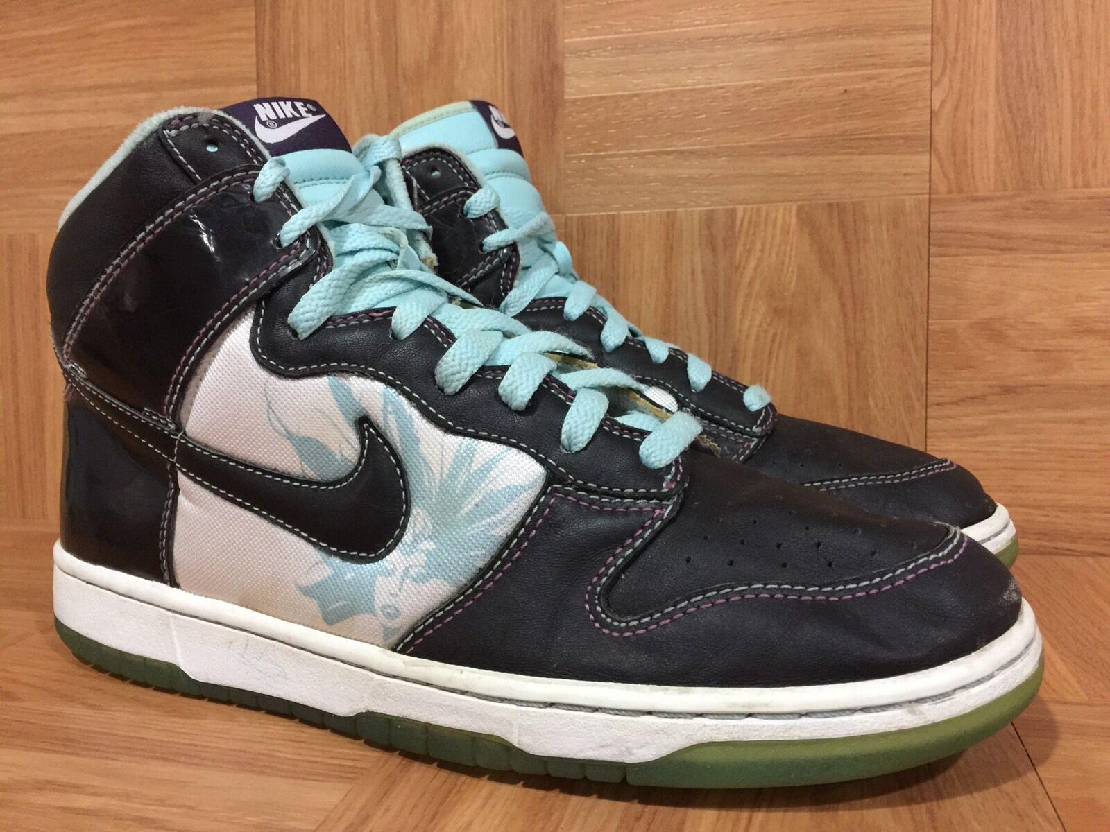 RARE  Nike Dunk High Premium Santana Black Glacier Blue Sz 10.5 312786-003 Worn