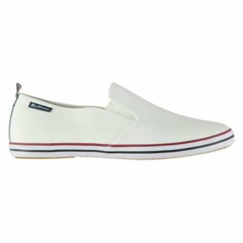 Ben Sherman Mens Leigh Slip On Canvas Trainers Stripe Striped