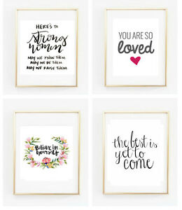 choice of inspirational quotes posters post cards gallery wall