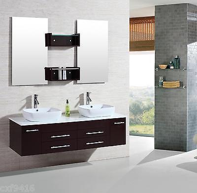 """60"""" Modern bathroom double vanities cabinet floating vessel sink w marble top 22"""
