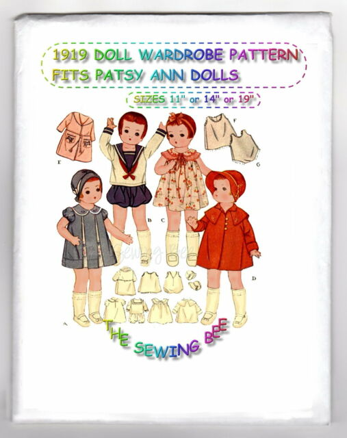 "Pattern for Patsy dolls 1919 Wardrobe 11.5""-14""-19"" vintage"