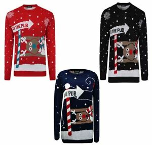New Christmas Novelty Jumper Rudolph To the Pub Unisex Mens Ladies Sweater