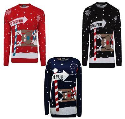Fein Mens Unisex To The Pub Reindeer Novelty Xmas Christmas Jumper Womens Sweater Lot Die Nieren NäHren Und Rheuma Lindern