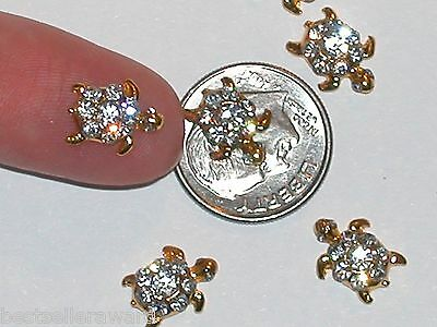 5pc Miniature dollhouse tiny crystal gld Turtle beads flat backs findings 9x11mm