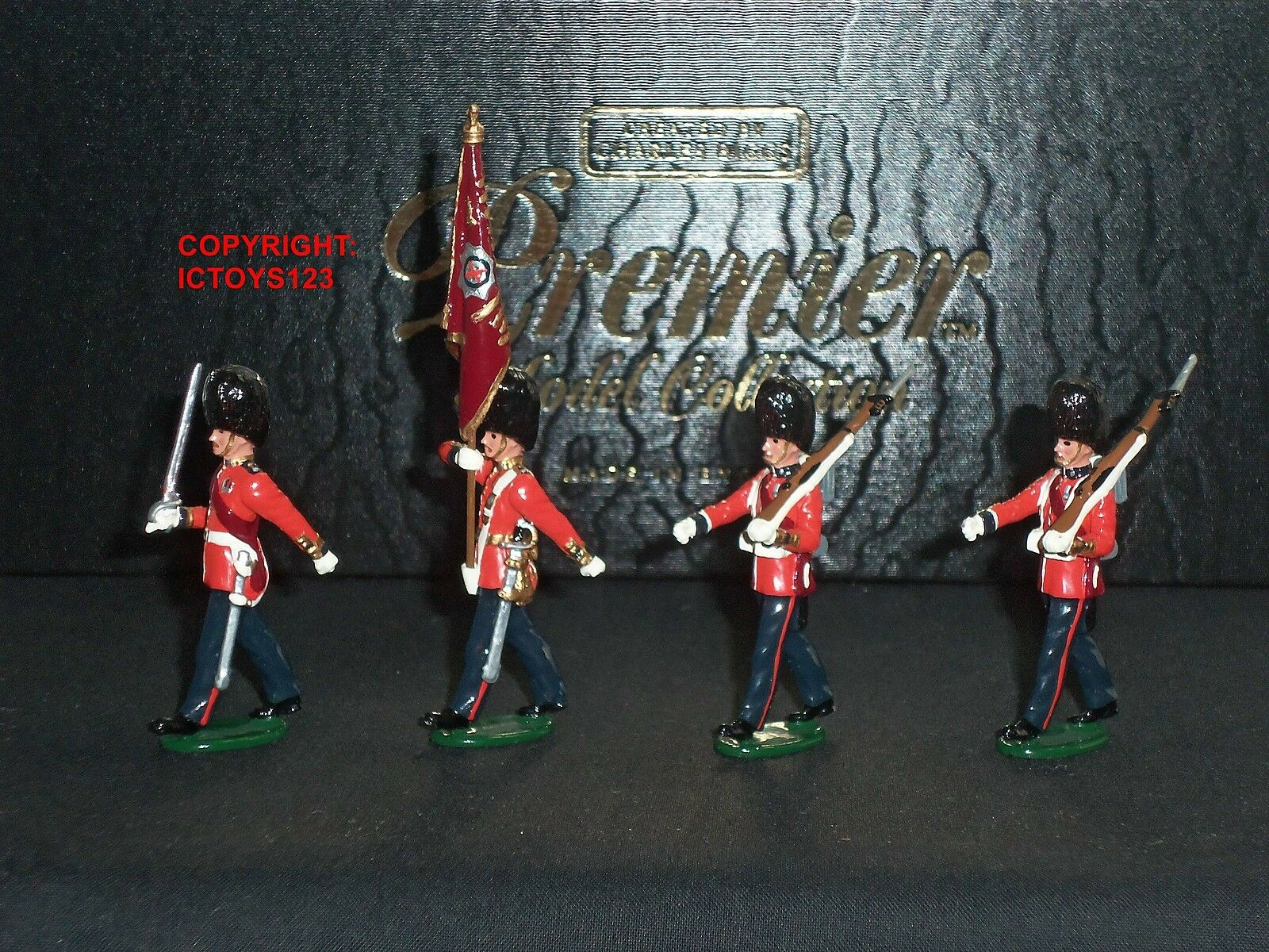 CHARLES BIGGS PREMIER 9902 COLDSTREAM GUARDS COLOUR PARTY METAL TOY SOLDIER SET