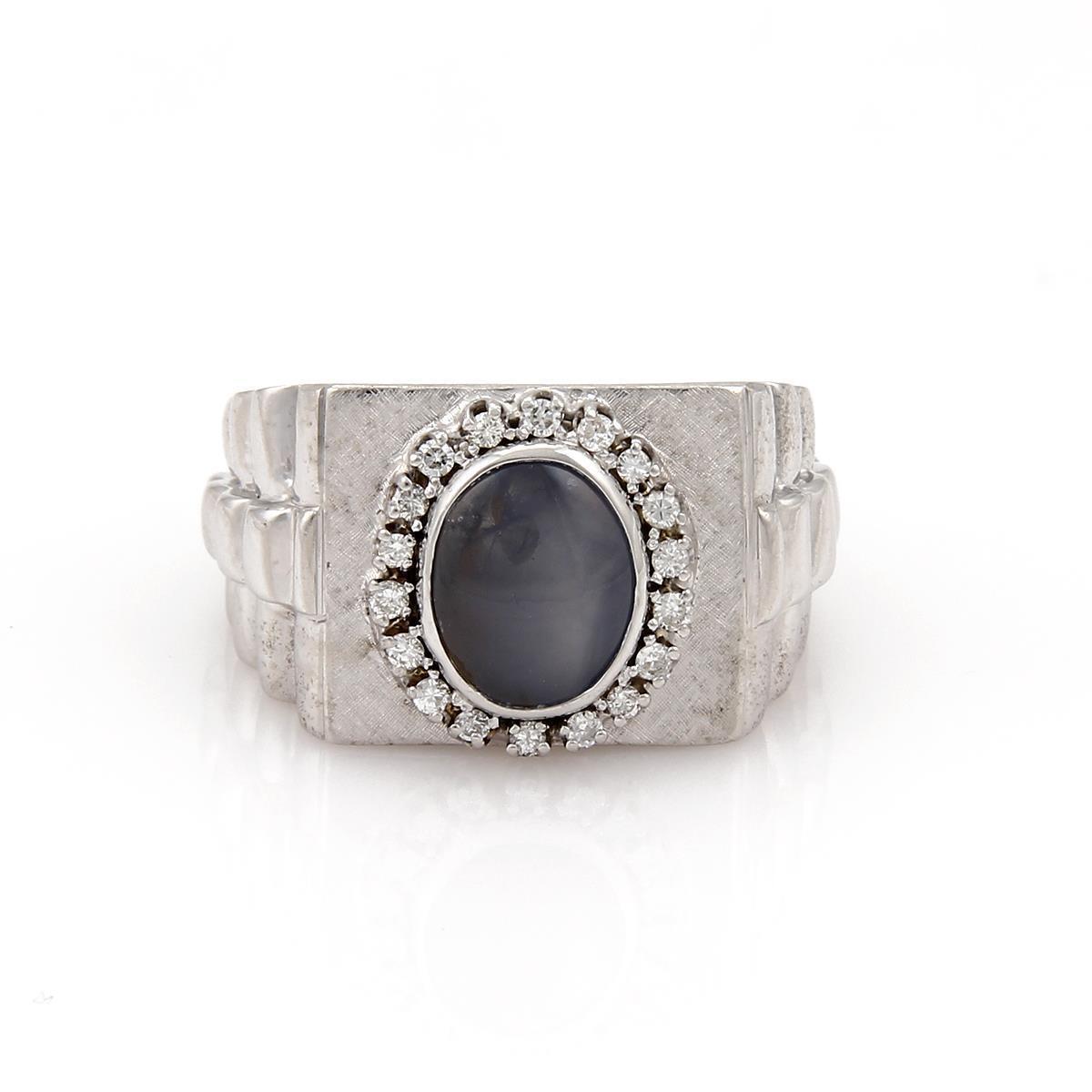 Men's Large 4.50ct Star Sapphire & Diamond Rectangular 14k gold Ring