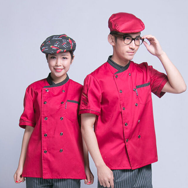 New Chef Short Sleeve Coat Waiter Waitress Work Jacket Men Women Working Uniform