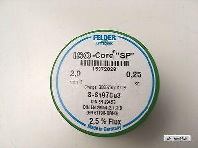 flussmittelgefüllter Weichlötdraht, S-Sn97Cu3, 2,00mm, 250g Spule bleifrei