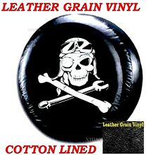 "LINED VINYL SPARE TIRE COVER 12-14"" rim Pop-up Camper Mechanical Pirate Skull"