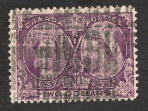 Sc 62 - Canada - 1897 - Two Dollar Diamond Jubilee Stamp - Used  -  superfleas