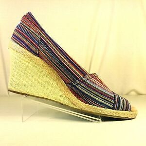 62083a4ac44 Toms Womens Striped Multicolor Open Toe Wedge Shoes Size 8.5 - Great ...