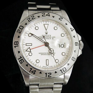 Mens-Rolex-Stainless-Steel-Explorer-II-Date-Watch-40mm-Oyster-w-White-Dial-16570