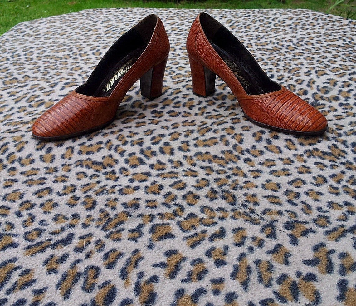 Vintage Perez Lucalsax brown Lizard leather shoes UK size 3 EU 36